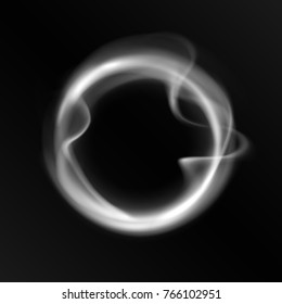 Smoke ring isolated on black background. Abstract realistic vape circle symbol. Cloud vaping O's trick.