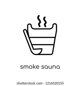Smoke sauna icon. Trendy modern flat linear vector Smoke sauna icon on white background from thin line sauna collection, editable outline stroke vector illustration