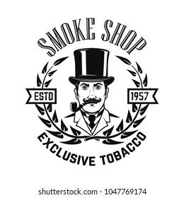 Smoke shop. Gentleman with smoking pipe. Design element for logo, label ,emblem, sign. Vector illustration