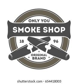 Smoke shop vintage isolated label with cigar. Gentleman club badge, tobacco retail symbol vector illustration in monochrome style