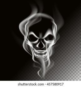 Smoke in skull shape, vector art and illustration.