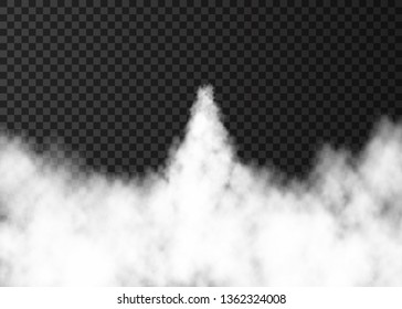 Smoke from space rocket launch. Foggy trail  isolated on transparent background. Fog.  Realistic vector texture.