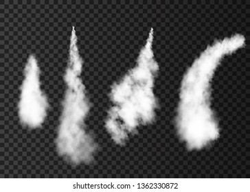Smoke from space rocket launch. Foggy plane trail  isolated on transparent background. Fog.  Realistic vector texture.