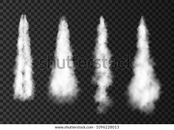 Smoke from space rocket launch. Foggy trail airplane or jet. Plane condensation track isolated on transparent background.  Realistic vector effect.