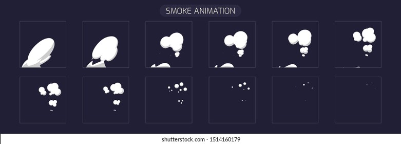 Smoke Steam Effect. Sprite Sheet Smoke Explosion for Video Game or Cartoon. 2D Classic FX Effect.  EPS 10 Vector illustration.