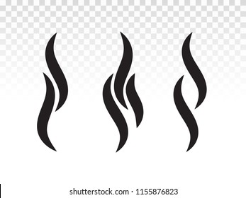 Smoke or steam flame heat icon. Vector aroma smell or scent fumes shape for hot BBQ logo icon design.