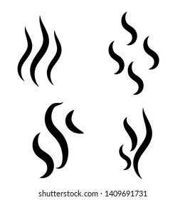 Smoke steam silhouette icon. Cooking steam or warm aroma smell mark, steaming vapour odour symbols. Set of smoke vector icon.
