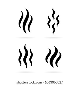 Smoke steam silhouette icon illustration isolated on white background