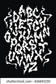Smoke vapor font. Vector alphabet