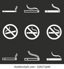 Smoke vector icons set. White illustration isolated on black background for graphic and web design.