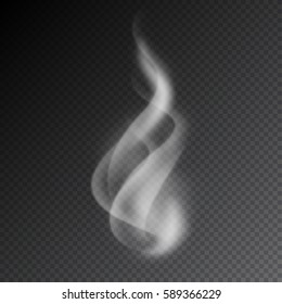 Smoke vector illustration on transparent background. Realistic smoke isolated. Vector smoke or vapor from electronic cigarettes