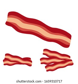 smoked, fried bacon strip illustration vector editable eps file