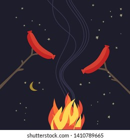 Smoked grilled sausages flat hand drawn vector color icon. Campsite barbecue picnic element design. Grilling sausages camping fire cartoon. Night campsite party sign. Campfire background illustration