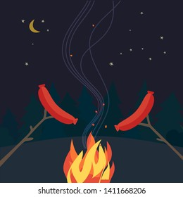 Smoked grilled sausages flat hand drawn vector color icon. Forest campsite picnic element design. Grilling sausages camping fire cartoon. Night campsite party sign. Campfire background illustration