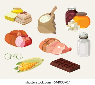 Smoked, salt, chocolate, sausage, fats, GMOs, sweets, semolina - food is harmful to the intestines. For your convenience, each significant element is in a separate layer. Eps 10