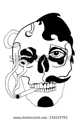 Smoker Smoking Cigarette Smoke Skull Man Stock Vector Royalty Free