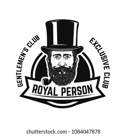 Smokers club. Gentleman head with smoking pipe. Design element for logo, label, emblem, sign, badge. Vector illustration