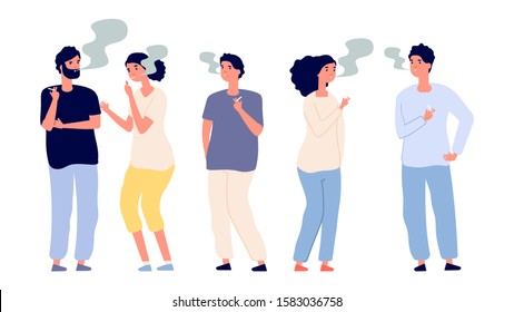 Smokers. People smoke cigarettes. Bad habits and drug addiction. Isolated vector adult characters