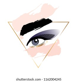 Smokey eyes. Make up. Golden foil linear frame and nude, rose, black brush strokes.
