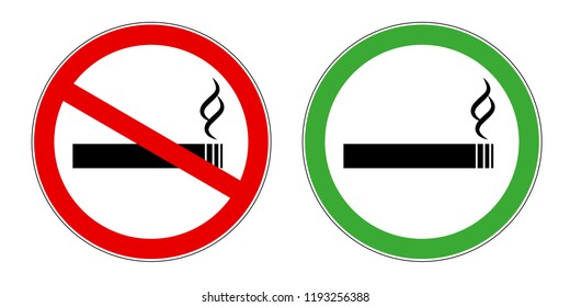 smoking area and no smoking area red and green sign symbol for public areas allowed and forbidden vector illustration