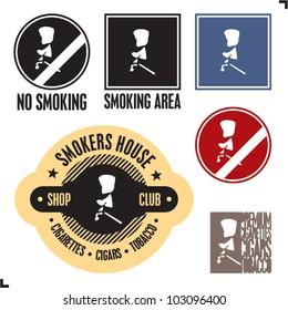 Smoking area sign. No smoking sign. Smoker sign label and badges.