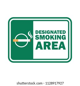 smoking area for signboard or label. vector illustration