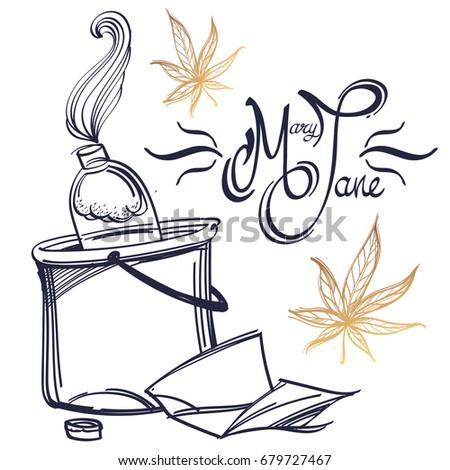 Smoking Bong Marijuana Mary Jane Lettering Stock Vector Royalty