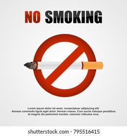 Smoking (cigarette) ban vector banner.