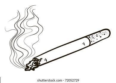 Smoking cigarette. A children's sketch
