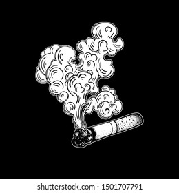 A Smoking cigarette. Image for signboard or nameplate. Tobacco or cannabis, marijuana rolled in a cigarette. Drug. Design for tattoo. Dependency symbol. Vector illustration. Smoldering cigarette.