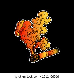 A Smoking cigarette. Image for signboard or nameplate. Tobacco or cannabis, marijuana rolled in a cigarette. Drug. Design for tattoo. Dependency symbol. Vector illustration. Smoldering cigarette.