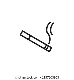 Smoking cigarette line icon. Unhealthy, nicotine, smell. Addiction concept. Vector illustration can be used for topics like break, bad habit, tobacco