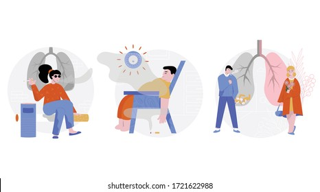 Smoking cigarette set of three isolated round compositions with flat characters of smokers in various situations vector illustration