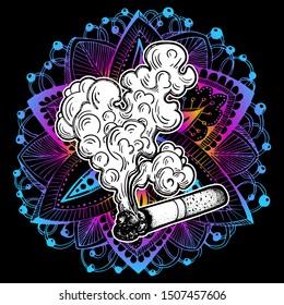 A Smoking cigarette. Tobacco or cannabis, marijuana, weed, ganja rolled in a cigarette. Drug. Tattoo. Dependency symbol. Vector illustration. Smoldering cigarette. Hallucination, trippy. Print.