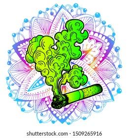 A Smoking cigarette. Tobacco or cannabis, marijuana, weed, ganja rolled in a cigarette. Dependency symbol. Vector illustration. Smoldering cigarette.