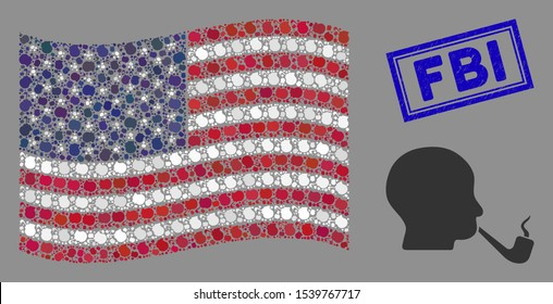Smoking detective symbols are organized into USA flag mosaic with blue rectangle distressed stamp seal of FBI caption.