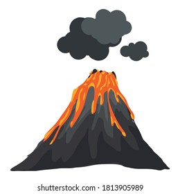 Smoking eruption volcano icon. Cartoon of smoking eruption volcano vector icon for web design isolated on white background