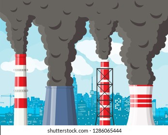Smoking factory pipe against cityscape clear sky. Plant pipe with dark smoke. Carbon dioxide emissions. Environment contamination. Pollution of environment co2. Vector illustration in flat style