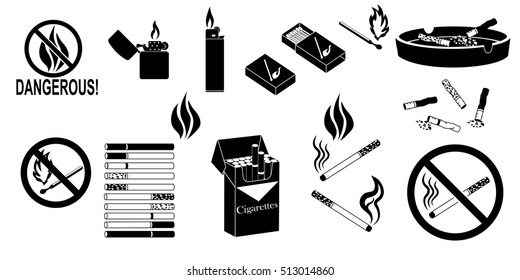 smoking fire black icons set (cigarette butt, burning match stick, zippo lighter,cigarettes, tobacco leaf, matches, no smoking)