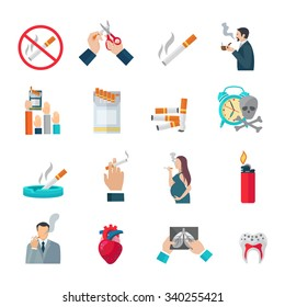 Smoking flat icons set with cigarette danger and hazards symbols isolated vector illustration