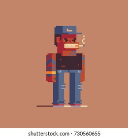smoking gangsta character, pixel art style vector illustration