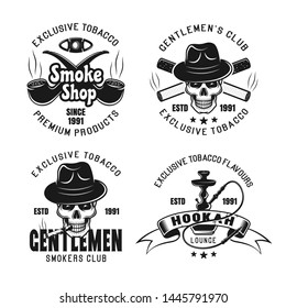 Smoking and gentleman club, hookah lounge set of four vector emblems, labels, badges or logos isolated on white background