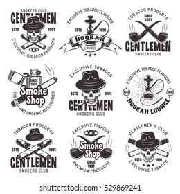Smoking gentlemen's club, smoke shop and tobacco products set of nine vector emblems, labels, badges, logos in monochrome style isolated on white background