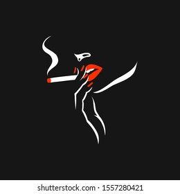 Smoking girl. Style Vector illustration with woman silhouette with red lips and nails, holding cigarette in one hand, retro cover design.