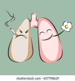 Smoking and healthy lungs. Danger of smoke. Positive and negative characters. Vector illustration