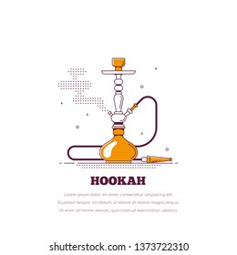 Smoking hookah concept. Shisha banner. Smoke pipe and relaxation. Flat style line art lounge bar and menu hookah illustration