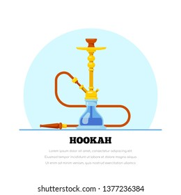 Smoking hookah concept. Shisha banner. Smoke pipe and relaxation. Flat style lounge bar and menu hookah illustration.