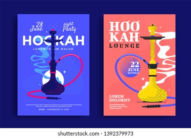 Smoking Hookah lounge poster design. Shisha bar cover illustration. Vector template