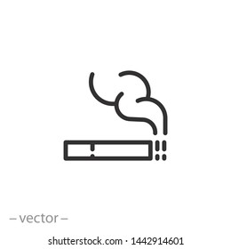 smoking icon, filter cigarette and smoke, bad line symbol on white background - editable stroke vector illustration eps10