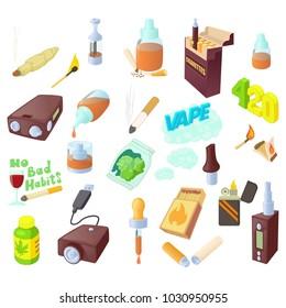 Smoking icon set. Cartoon set of smoking vector icons for web design isolated on white background